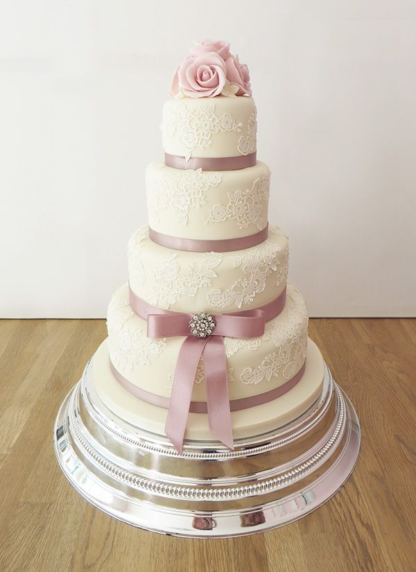 4 Tier Wedding Cake with Lace Effect and Dusky Pink Ribbon by The Cakery…