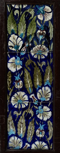 Panel of three tiles of buff-coloured earthenware painted with enamels on a white slip and glazed, made by William De Morgan, Merton Abbey Factory, late 19th century