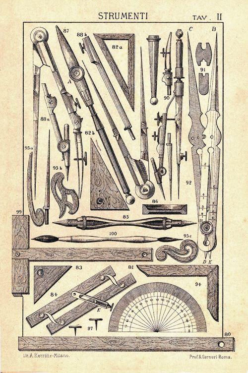 tecla 8 - Augusto Garneri, Strumenti, da Corso elementare di disegno geometrico, Roma 1895, tav. II