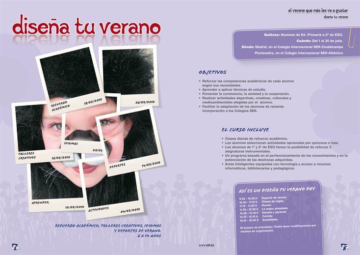 """Diseño, redacción de contenidos y maquetación de los catálogos """"Cursos de Verano"""" Colegio Internacional SEK."""