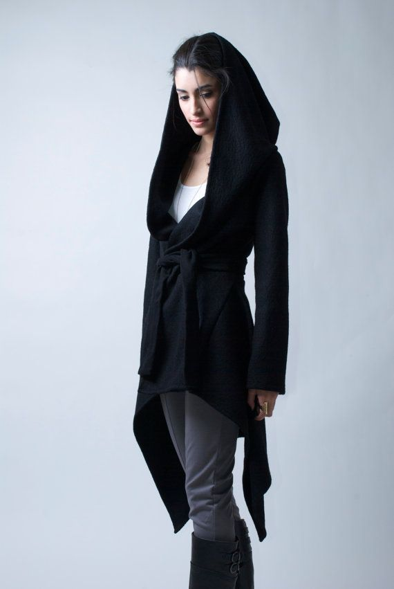 Black Coat with a Hood / Asymmetrical Sweater Hoody / Winter Coat / Oversize Designer Coat / Asymmetric Coat / on Etsy, $123.00