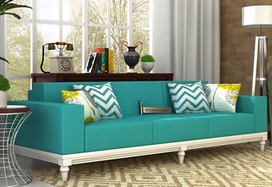 Shop Ayres 3 Seater Fabric Sofa Online in Electric Turquoise and create alluring ambience in your living space. The astonishing three seater sofa designs are fabulous. Buy 3 seater sofa online in #Mumbai #Jaipur #Noida