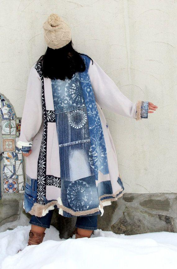 L-XXL Denim art hand painted snowflakes  recycled  sweater dress hippie boho