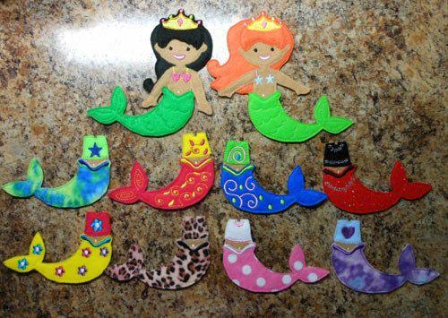 In the hoop felt dress up mermaid dolls embroidery machine