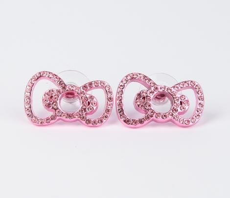 Hello Kitty Ribbon Stud Earrings: Pink Rhinestone.