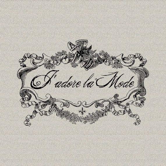French Script Transfers | French Script I Love Fashion French Decor Wall Decor Art Printable ...