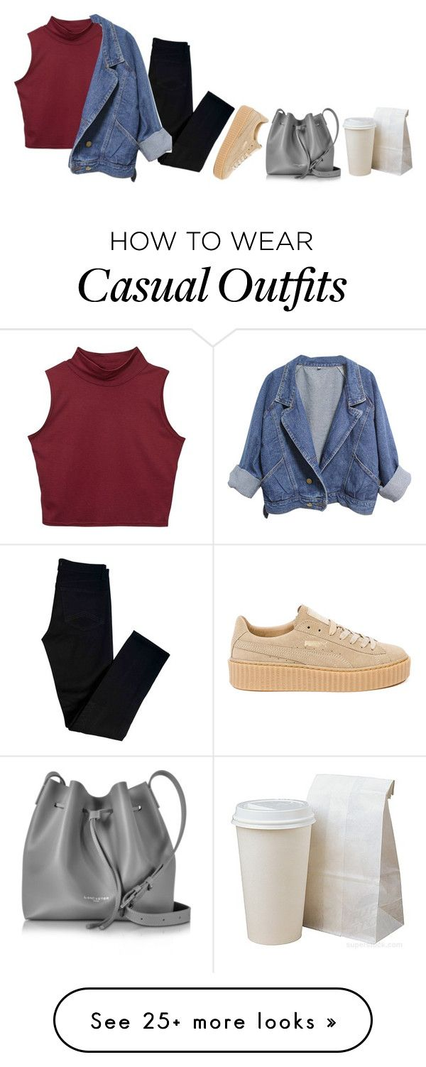 """""""casual chic?"""" by its-me-maddie on Polyvore featuring J Brand, Puma, Lancaster, denimjacket, puma and blackjeans"""