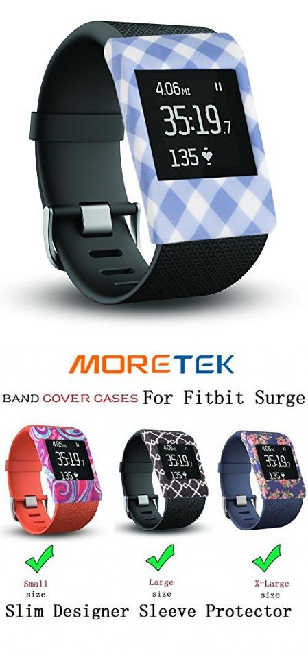 Moretek Wristband Cases Band Cover for Fitbit Surge Tracker Smartwatch Accessory (Blue Square)