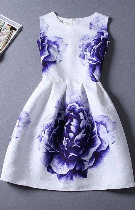 Retro jacquard printed sleeveless dress