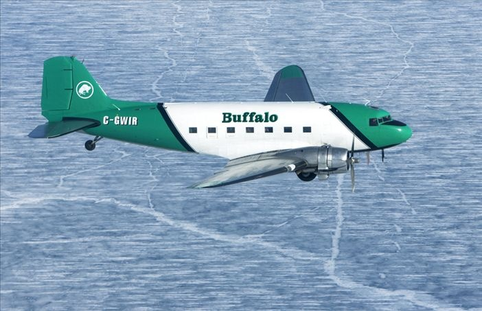 Buffalo Airways' daily passenger service flies over Great Slave Lake twice each day - from Hay River to Yellowknife each morning and a return flight each evening