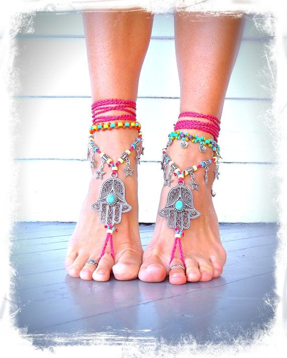 HAMSA hand BAREFOOT sandals tribal belly Dance foot jewelry Hot PINK Ankle wrap sandal Ethnic Wedding Hippie Boho Toe Thong bare feet GPyoga