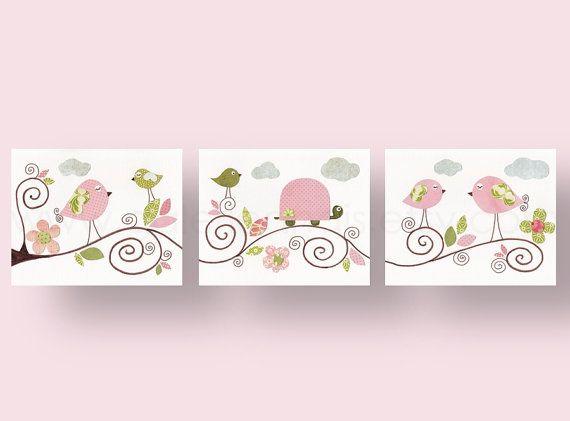 Set of 3 8x10 Prints -  Les Oiseaux - baby nursery decor nursery wall art children wall art bird turtle kids art baby art