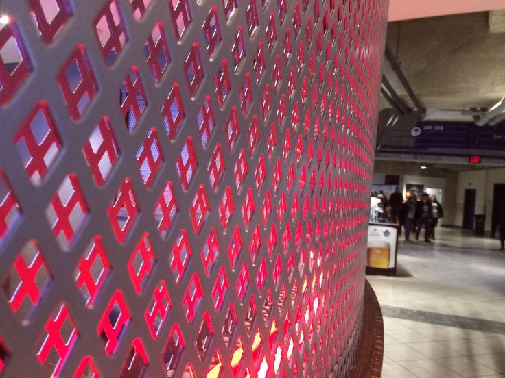 """Ferrier's 1/2"""" x 3/4"""" pattern as a privacy screen at the Air Canada Centre in downtown Toronto."""