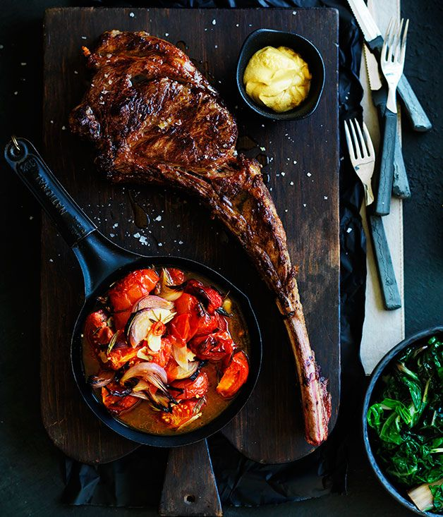 Australian Gourmet Traveller recipe for tomahawk steak and roast tomatoes with rosemary.