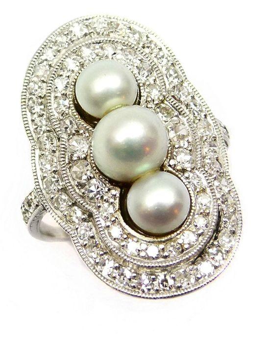 Principios del siglo 20 tres perlas piedra y anillo de racimo de diamantes, c.1905