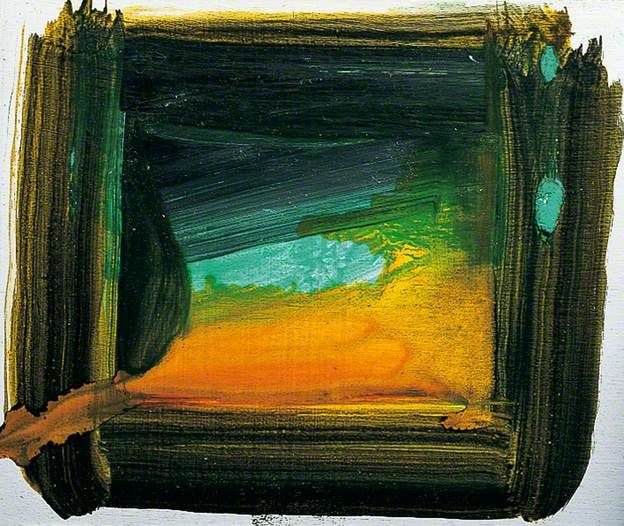 End of the Tunnel  by Howard Hodgkin  Where to see this painting?  Pallant House Gallery  9 North Pallant, Chichester, West Sussex, England, PO19 1TJ       Date painted: 2000  Oil on card, 11 x 13 cm  Collection: Pallant House Gallery