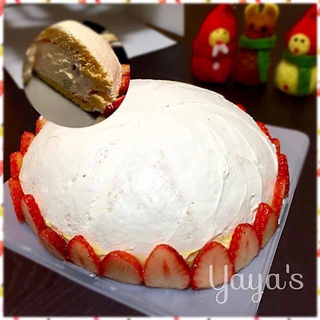 息子の園のママ友邸にてお料理教室&クリスマスパーティー開催 手土産にデザートを...  中にはキウイ1個とイチゴ1パック詰めました✊ 見えないけど... - 52件のもぐもぐ - クリチ入り豆乳クリームのズコット風 by yaya88