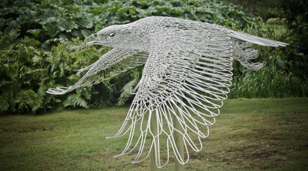 Stainless steel Birds Sculptures or statue by artist Martin Debenham titled: 'Golden Eagle (Very Big Stainless Steel Wire sculptures In Flight statue)'