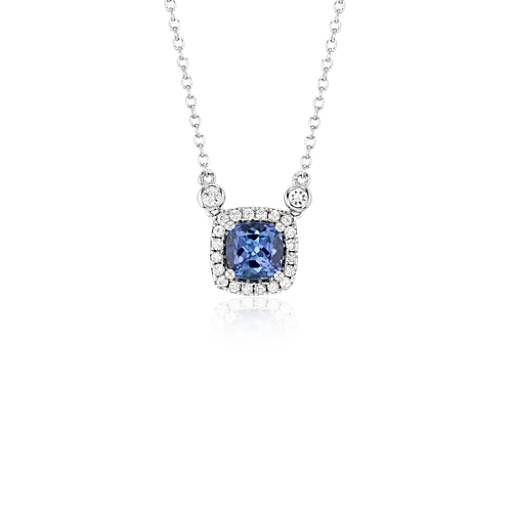 Cushion Tanzanite Pendant with White Topaz Halo in Sterling Silver (6mm)