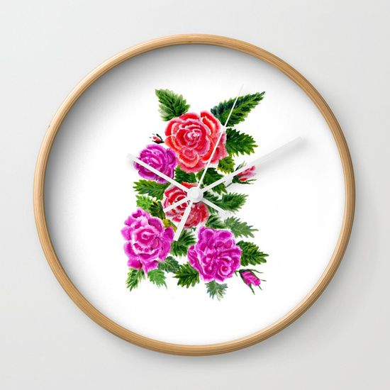 Watercolor Roses Bouquet Wall Clock
