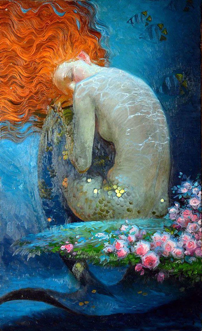Mermaid Life, Mermaid Art, Beautiful Colors, Mermaids Sirens, Nizovtsev S Mermaid, Hair, Mermaid Ginger, Mermaid Paintings. Victor Nizovtsev's ...