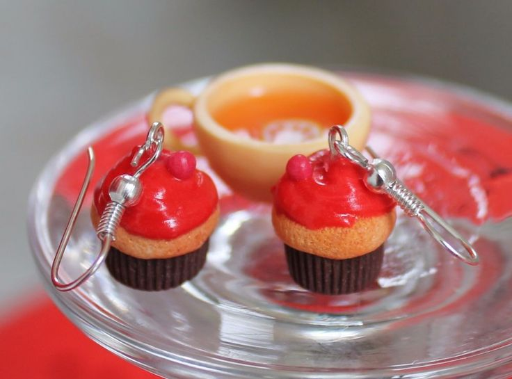 Cupcake Earrings / Handmade Polymer Clay  #Handmade #DropDangle