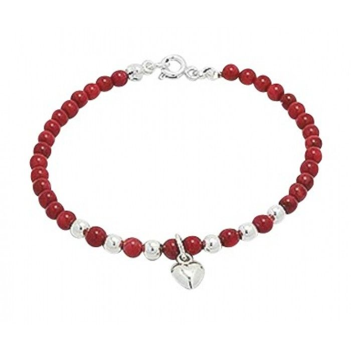 Children's Bracelets:  Sterling Silver, Red Coral Ball Bracelets with Silver Puffy Heart.  Stunning red coral children's bracelets from Baby Jewels.