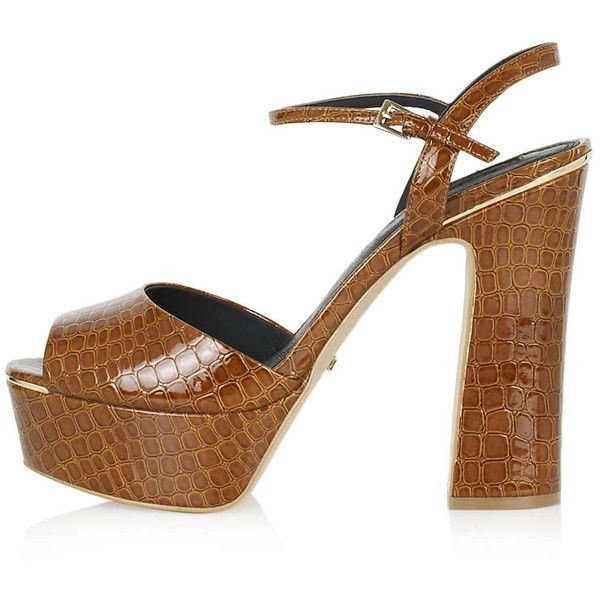TopShop Lisa Croc-Effect Platforms (€20) ❤ liked on Polyvore featuring shoes, tan, polyurethane shoes, dressy shoes, platform shoes, tan peep toe shoes and croco shoes