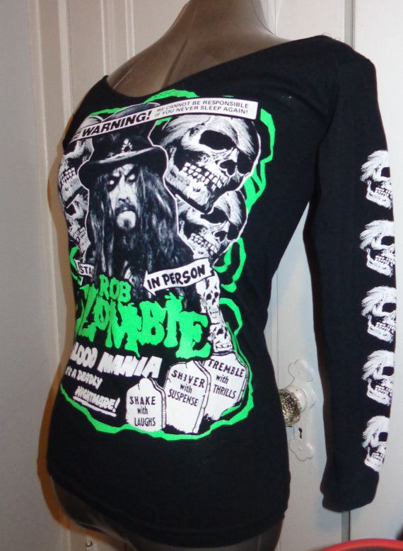 Back for a limited time this sexy DIY handmade ladies fit ROB ZOMBIE blood mania shirt is avail in xs - s- m - l - xl- 2x and 3x!!