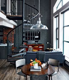 Loft tour: Retro-industrial design Stle at Home. Condo of Adam Wyld (Mayilyn Denis son) Designer Ramsin Khachi