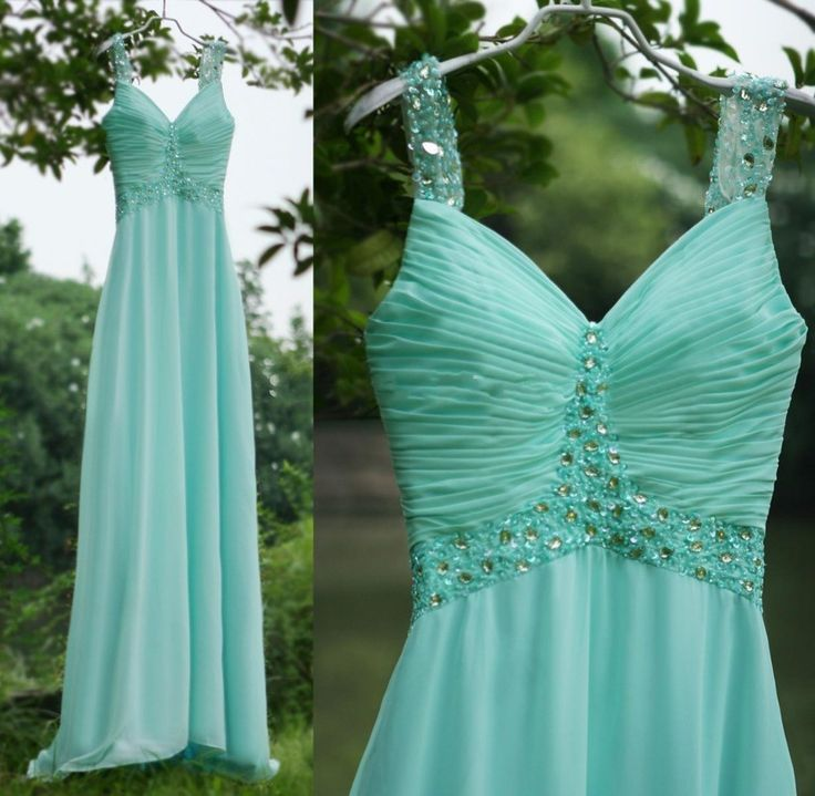Mint Green Chiffon A Line Bridesmaid Dresses ,V