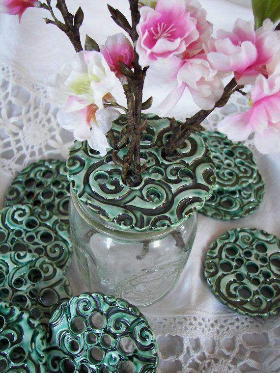 Old Fashioned Vase  Mason Jar Flower Frog   Jar by GlitzNGlaze, $12.00