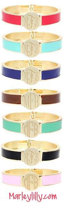 Spice up your arm party with a Monogrammed Enamel Bangle Bracelet from marleylilly.com. #bracelet #armparty #armcandy #fashion #summer #cute #ootd