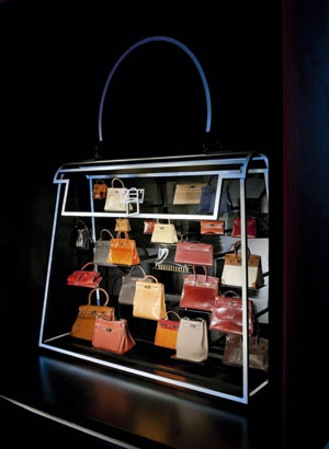 Kelly and Birkin handbags display by Hermes, better than a box of chocolates.