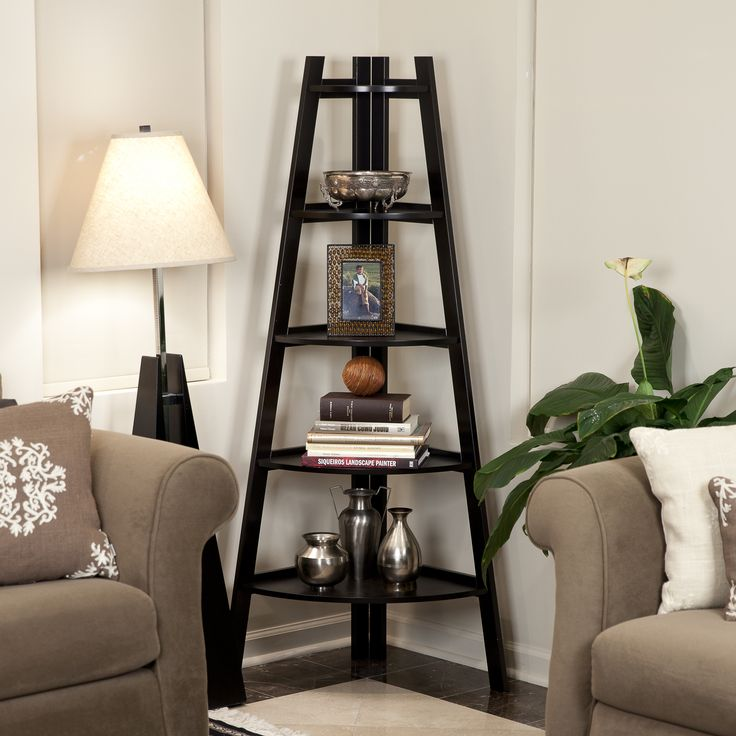 Features:  -Contemporary design in espresso finish.  -5 Tier shelves.  -Material: Wood and MDF.  Product Type: -Corner unit.  Style: -Contemporary.  Finish: -Espresso.  Frame Material: -Wood.  Shelvin