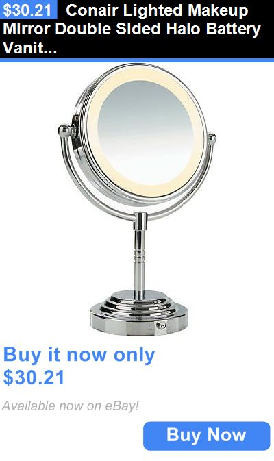 Makeup Mirrors: Conair Lighted Makeup Mirror Double Sided Halo Battery Vanity Magnifying Chrome BUY IT NOW ONLY: $30.21