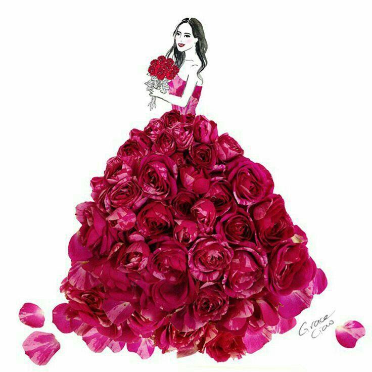 Девушка в платье из цветов картинки