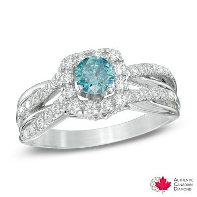 1.00 CT. T.W. Certified Canadian Enhanced Blue and White Diamond Frame Ring in 14K White Gold (I2)