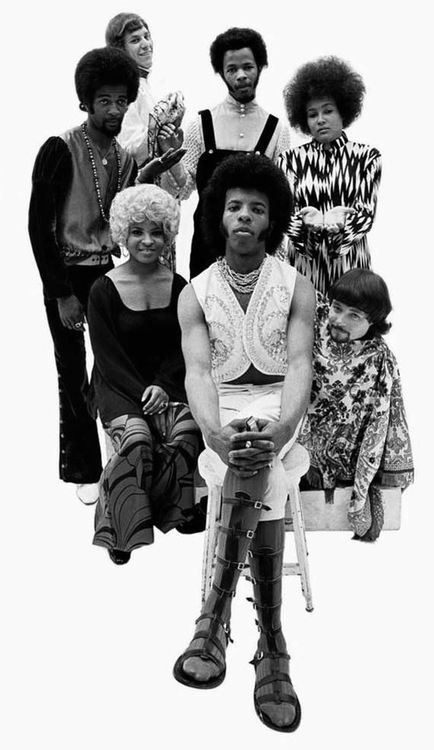 IT'S A FAMILY AFFAIR, Sly and the Family Stone, including from the top, Larry Graham, Cynthia Robinson, Jerry Martini, Sly Stone, Rose Stone, Freddie Stone and Gregg Errico. #Funk