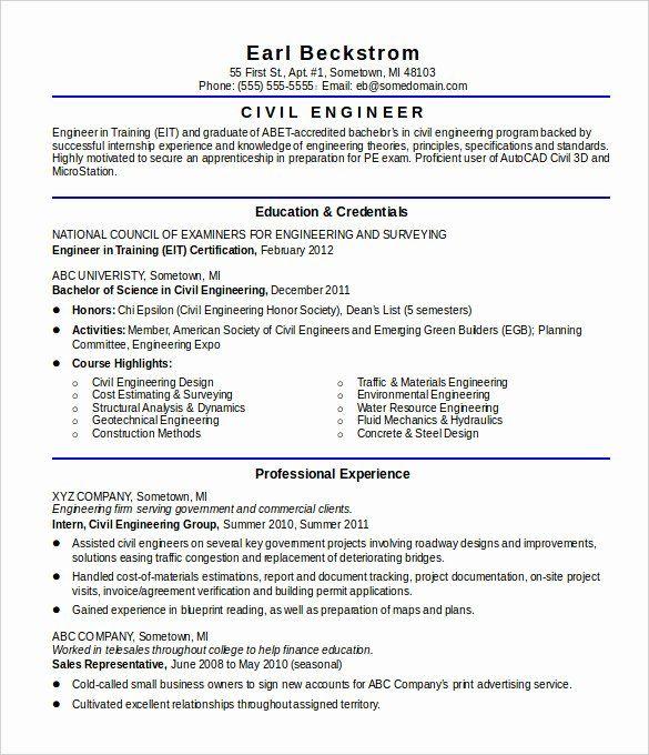 Entry Level Engineering Resume Lovely Civil Engineer Resume Engineering Resume Engineering Resume Templates Civil Engineer Resume