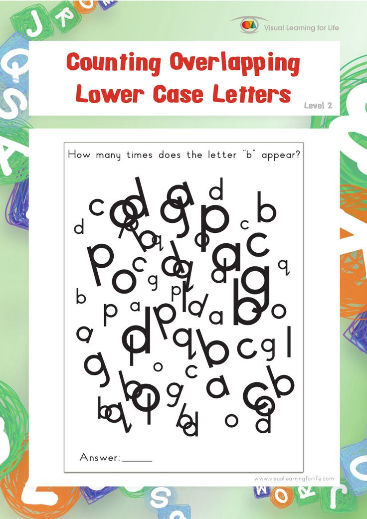 "In the ""Counting Overlapping Lower Case Letters"" worksheets, the student must count the total number of the specific letter that is specified in the instruction.  This file contains 10 worksheets.  Visual Perceptual Skills Addressed:  Figure Ground   Figure Ground perception is the ability to screen out any irrelevant visual material when presented with a lot of visual information at one time (to locate the important stimulus without getting confused by the background or surrounding…"