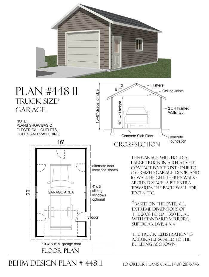 Truck Sized 1 Car Garage Plan 448 12 16 X 28 Garage Plans Garage Plan Car Garage