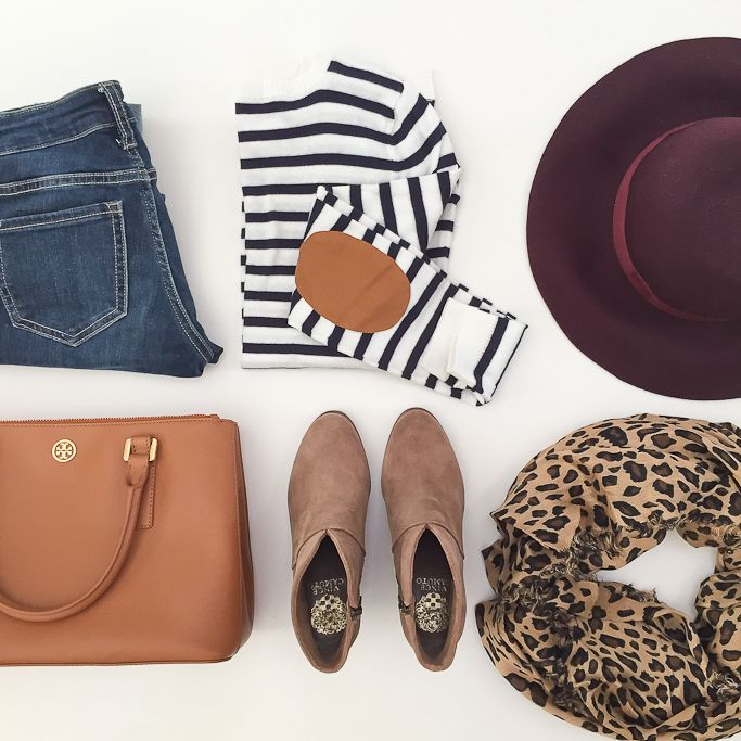 StylishPetite.com | Elbow patch striped sweater, burgundy wool floppy hat, leopard scarf, vince camuto franell ankle booties, camel purse, fall outfit, fall fashion, pattern mixing outfit
