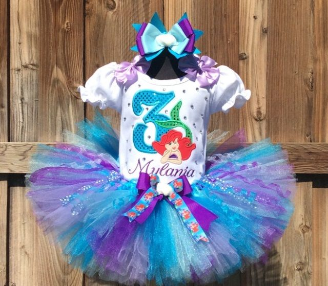 Ariel Little Mermaid Girls Personalized Birthday Tutu Outfit