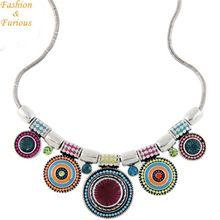 Vyhlásenie Bohemia Vintage kovové smalt Náhrdelník Ženy viacfarebná náhrdelníky & prívesky Šperky colar Darčekové strany (Čína (pevninská časť))