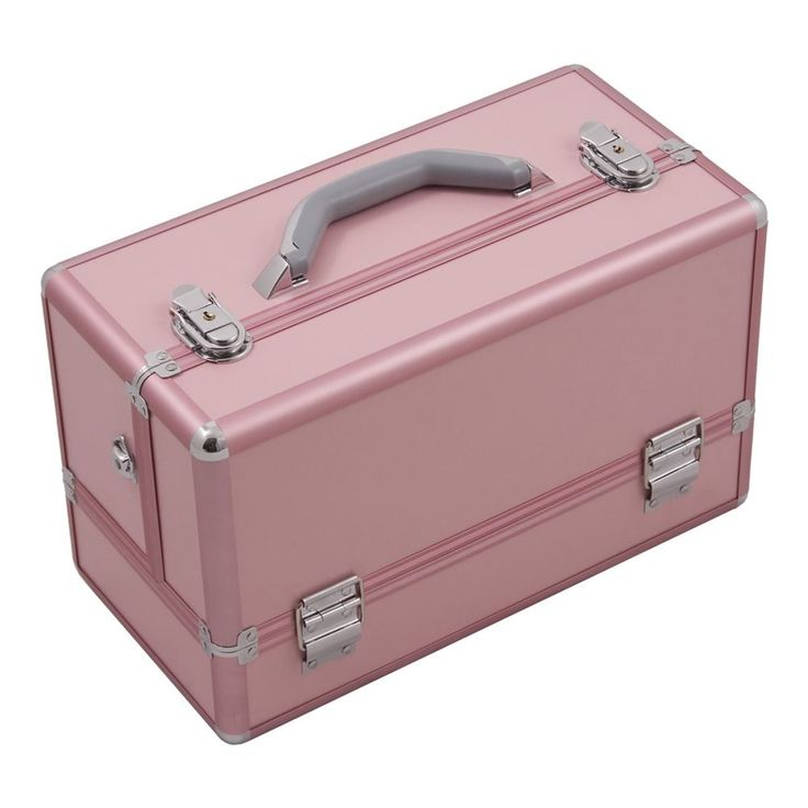 JUSTCASE 3-tiers Accordion Trays Professional Cosmetic Makeup Train Case