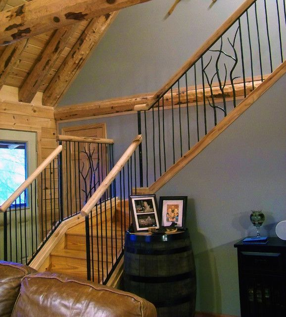 Simple Rustic Stair Iron Railings For Your Rustic House With