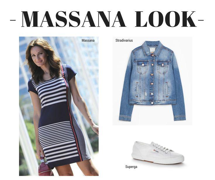 Look Massana: Vestido a rayas estilo navy combinado con #Superga blancas y cazadora vaquera #Spring #Summer #Massana #mujer #MassanaHomewear
