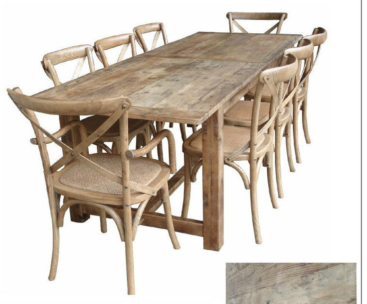 Rustic oregon french provincial farm house dining table for Long rustic table