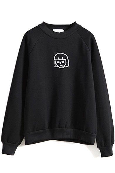 Cartoon Embroidery Round Neck Plain Sweatshirt